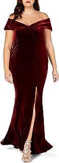 LALAGEN Women Plus Size Off Shoulder Velvet Formal Gown Evening Party Dress