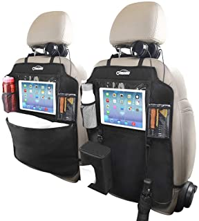 Oasser Auto Rückenlehnenschutz 2 Stück Auto Rücksitz Organizer Kick Matten Schutz für Autositz 600D Oxford Stoff WasserdichtesTrittschutz mit 10 Zoll Durchsichtigem iPad Tablet Halter 1 Tissue Box
