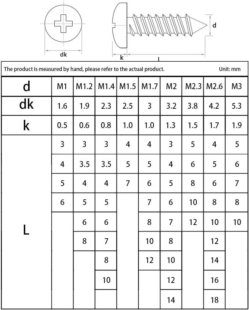 Adecuado Para Carpinter/ía Familiar De Hardware De Herramientas De Bricolaje,100Pcs*(M1.2 3Mm) SENDILI Tornillo De Acero Inoxidable Est/ándar M1.2 Juego De Tornillos De Cabeza Redonda