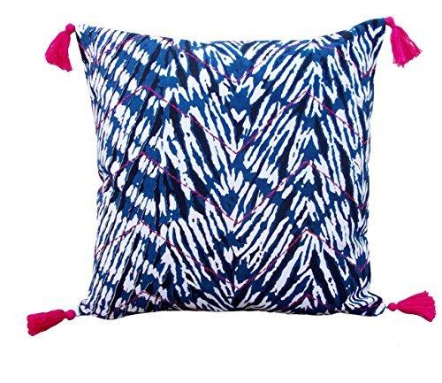 VLiving Shibori - Federa per cuscino con motivo a zigzag, multicolore, 40,6 x 40,6 cm