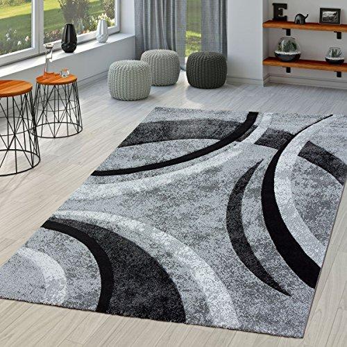 Alfombra salón a rayas moderna con corte de contorno, color negro gris moteado, polipropileno, 160 x 230 cm