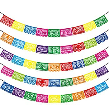 Mexican Party Banners - 5 Pack Fiesta Mexican Party Dia De Los Muertos Day of the Dead Decoration Mexicano Fiesta Party Supplies Plastic Papel Picado Banners - 5 Different Designs 90 Feet Long Totally