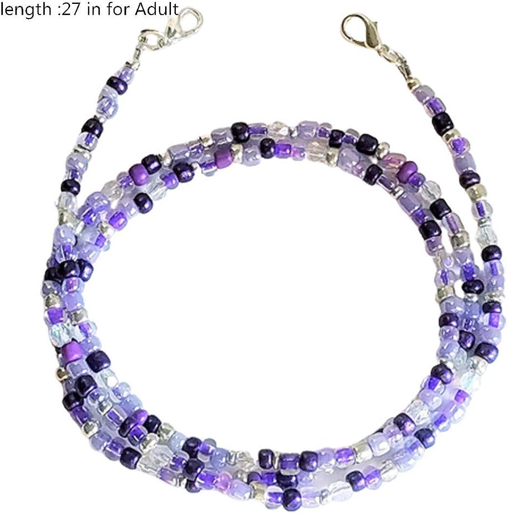 Pingyongchang Face Mas-k Holder Beaded Necklace,Face Mas-k Decorative Convenient Mas-k Holder Chain Suitable for Mas-k
