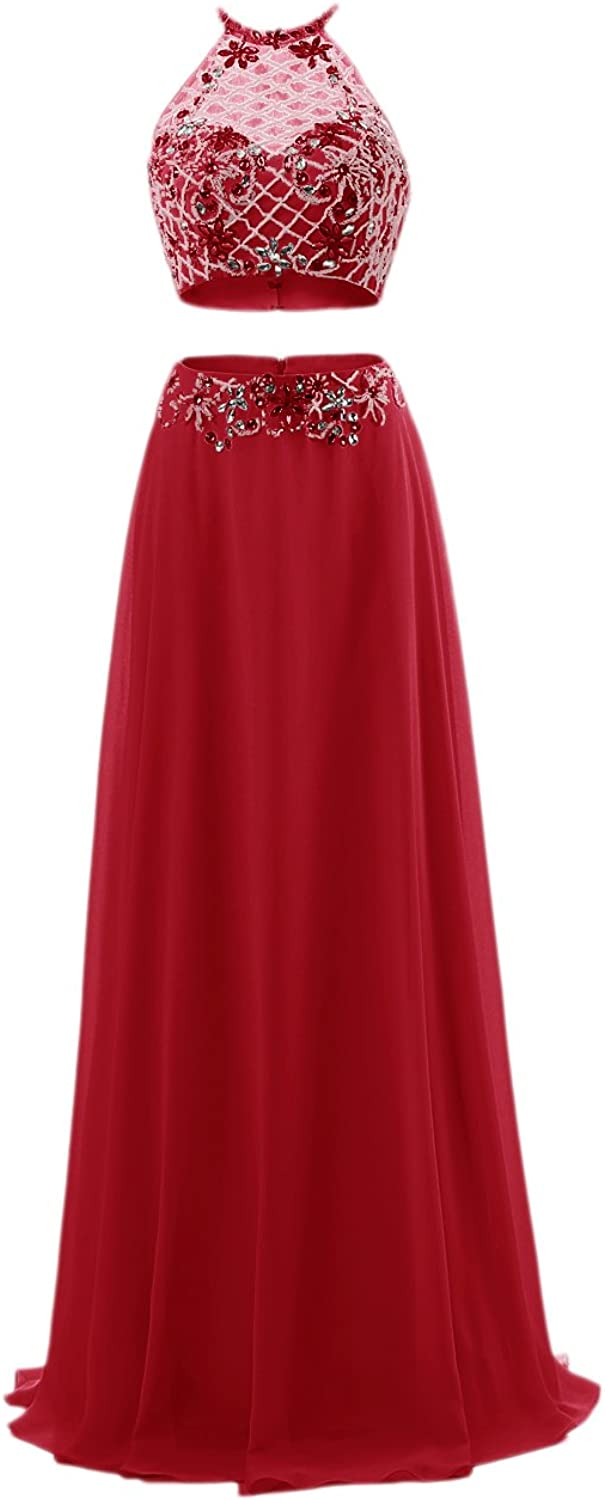 Bbonlinedress Women's Beading Two Pieces Halter Bridesmaid Evening Party Prom Dress