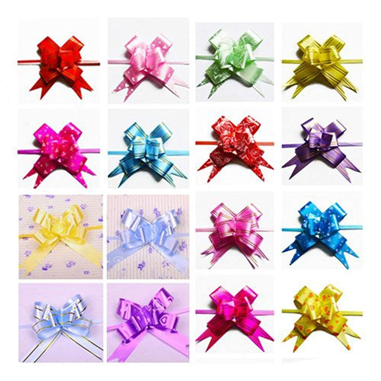 Ewandastore Christmas Gift Pull Bows-300pcs Assorted Colors Gift Wrapping Christmas Wedding Decoration Pull Bows (Length 14.17