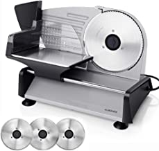 ALBOHES Electric Meat Slicer, 150W Professional Slicer Machine with 3 Stainless Steel Blades, Meat Deli Cheese Bread Food Slicer for Home Use, Adjustable Thickness Dial / 7.5'' Interchangeable Blades/ Plastic Blade Guard/ Suction Feet