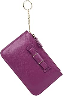 YALUXE Women's Bowknot Zipped Leather Coin Wallet Card Holder with Keyring Purple