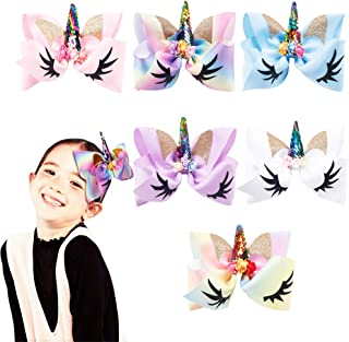 Oaoleer 8 inch Unicorn Cheer Bows for Girls Dogs Kids Grosgrain Ribbon Pig Tail Hair Bow with Alligator Clips (6pcs Hair Bows)