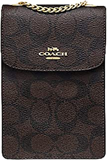 Coach North/South Phone Crossbody In Signature Canvas Brown Black