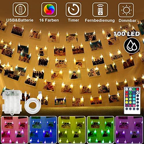 100 LED Fotoclips Lichterkette Dimmbar, 10M Bunt Kupferdraht Lichterkette für Zimmer mit 60 Klammern für Fotos & Fernbedienung, USB/Batterie Bilderrahmen Stimmungsbeleuchtung für Kinderzimmer,Party