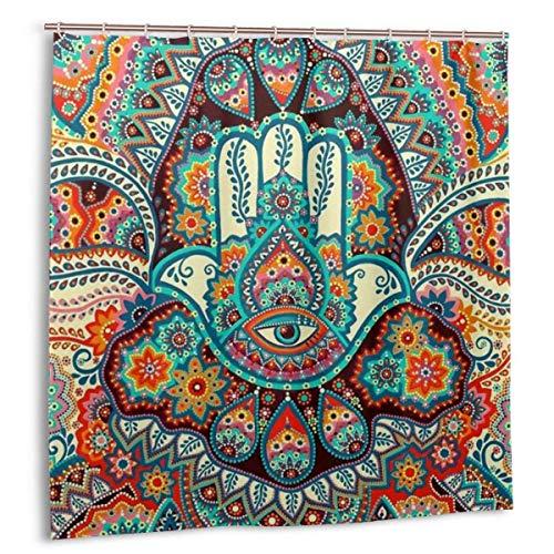 MYGED Duschvorhang Indian Fatima Hamsa Hand wasserdichte Badvorhänge Dekor Set 72 x 72 Zoll Kunststoff