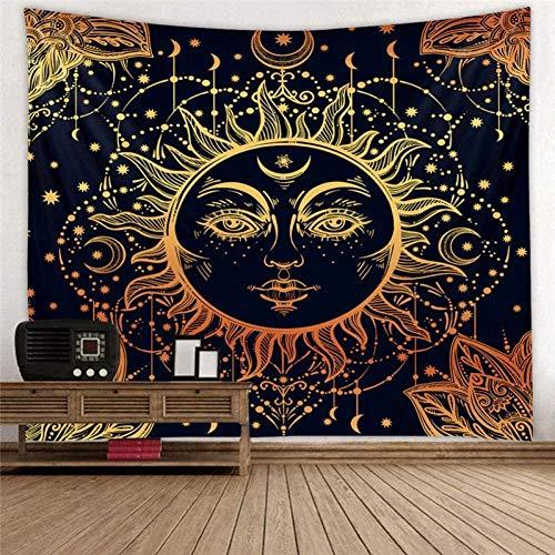 Yhjdcc Tapiz para colgar en la pared, diseño psicodélico de sol y luna, con diseño de chakra, decoración de pared, 150 cm x 200 cm