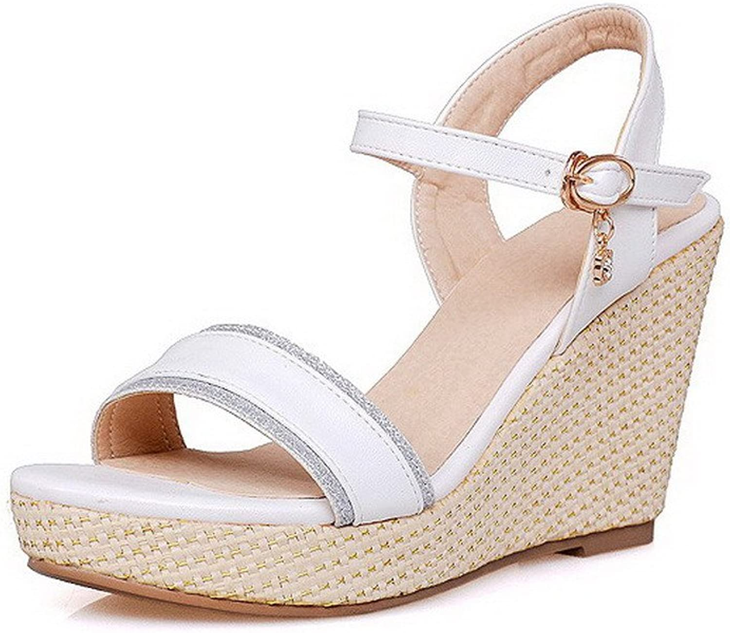 AmoonyFashion Women's Soft Material Buckle Open Toe Kitten-Heels Solid Sandals