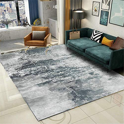 AU-SHTANG alfombras Pelo Corto Salon Alfombra Azul Gris, patrón borroso Lavado de Agua a Prueba de Humedad a Prueba de Humedad Alfombra baño -Azul Gris_120x160cm
