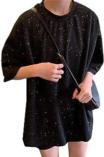 (ふーふうん) tシャツ 半袖 スパンコール衣装 ヒップホップ レディース コスチューム ステージ イベント きらきら スパンコール ロングテール 大きいサイズ ゆったり 日常用 通勤 きれいめ