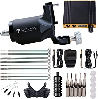 Extreme Rotary Tattoo Machine Kit Power Supply Complete Tattoo Kits Foot Pedal Grip for Tattoo Artists (Extreme)