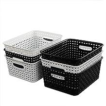 "HOMMP 6-Pack Plastic Storage Organizer Basket, 10.04"" L x 7.48"" W x 3.95"" H"