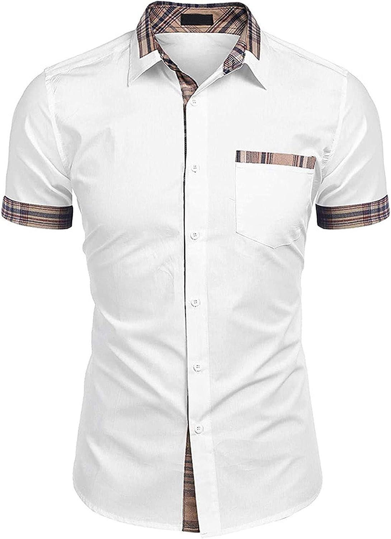 FUNEY Men's Dress Shirts Slim Fit Casual Short Sleeve Plaid Print Lapel Business Cotton Regular Fit Button Down Shirts
