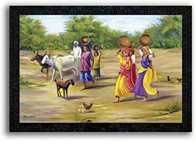 PNF Rajasthani Culture with Wooden Synthetic Frame Painting(13.5x19 inch,Multicolour,Synthetic)