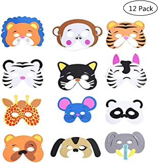 Yongbest Máscaras de Animales Infantil,12 Piezas Máscaras de Espuma Niños Mascarillas de EVA para Cumpleaños Halloween Suministros de Fiesta de Navidad