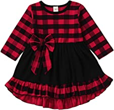 GRNSHTS Baby Toddler Girls Red Plaid Dress Kids Ruffle Tunic Long Sleeve Skirt with Bowknot Playwear,Christmas Clothing Set
