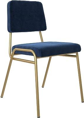Upholstered Dining Chair, Gold Frame & Blue Velvet Upholstery