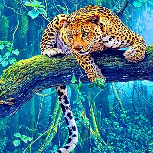 Navidad 5D DIY diamante pintura completos Kits Tigre de árbol animal completo para adultos y niños Arte de diamante redondo perfecto para la relajación decoración de la pared del hogar 20x20cm A1092