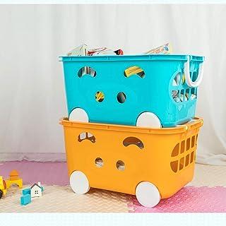 CAI Boîte de Rangement pour Les ménages en Bois Massif, 2 Paquets Enfant 'S Jouet Panier de Rangement en Plastique Vêtemen...