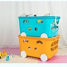MU Ménage Portable Boîte De Rangement en Bois Massif, 2 Paquets Enfants 'S Jouet en Plastique Panier De Rangement Vêtement...