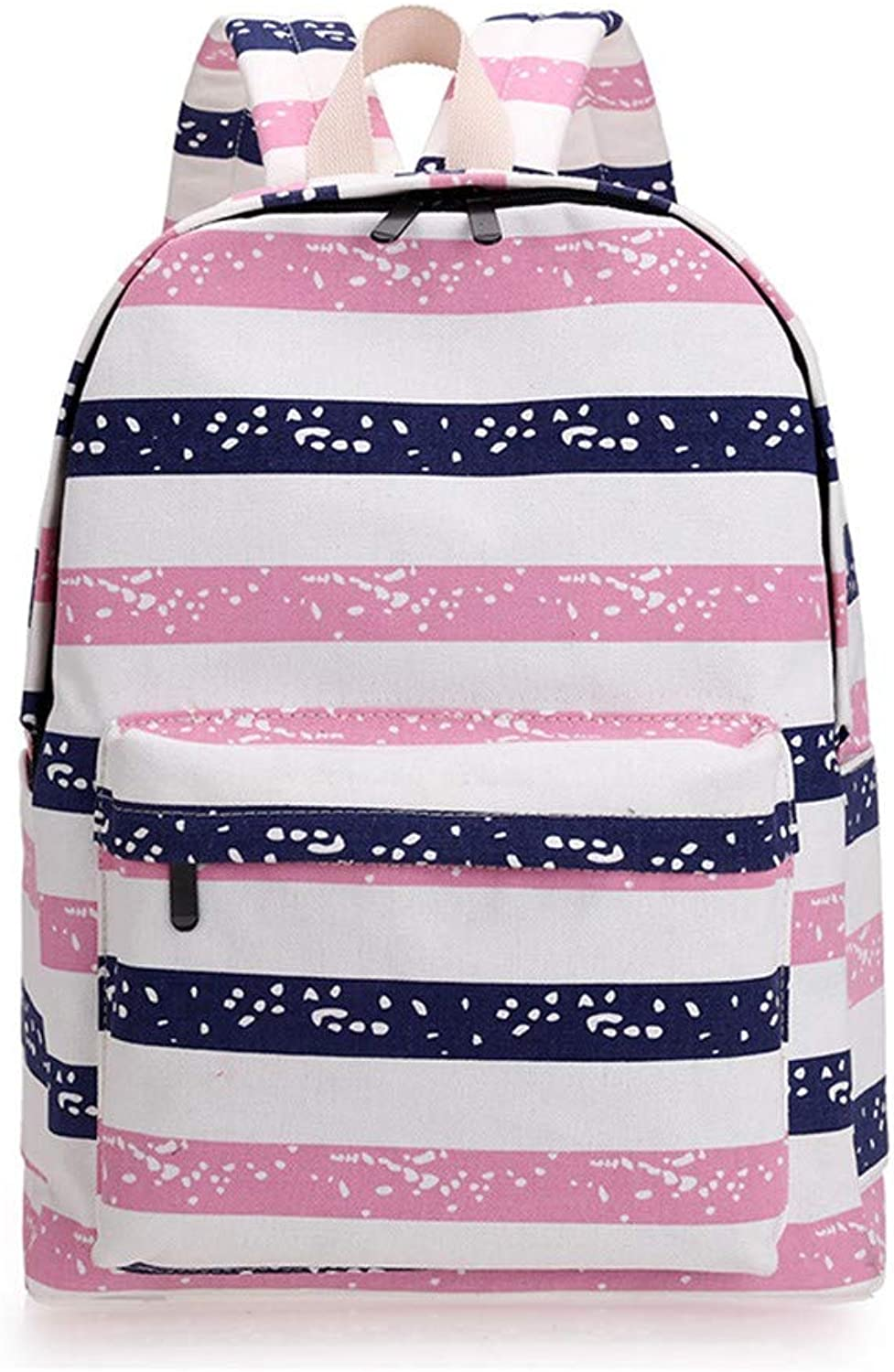 AUULANG Backpack Thick Striped Canvas Backpack Ladies Backpack Outdoor Travel Bag, Pink