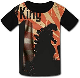 Kmehsv Niño Camisetas de Manga Corta, Black Raglan T-Shirts God-Zilla Short Sleeve Sports Sweat tee for Teen Kids Boys Girls