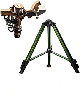 Malxs Tripod Base with Garden Brass Impact Impluse Sprinkler, Adjustable 0° to 360° Pattern,Area Coverage-Up to 50'-70' Diameter (100621)