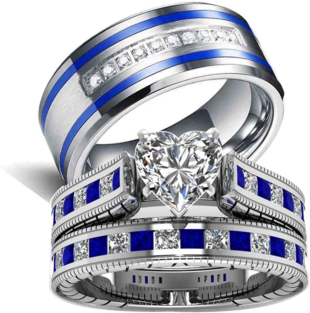 LOVERSRING 3pc Two Rings His and Hers Couple Rings Bridal Sets His Hers Women White Gold Filled Heart Cz Man Stainless Steel Wedding Ring Band Set