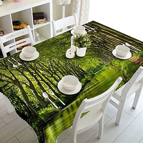 MinegRong Vert dininng Nappe imperméable 3D Nappe rectangulaire Parti Table Ronde Nappe personnalisé Taille Forest Cushion Cover-Color 1100 cm * 100 cm