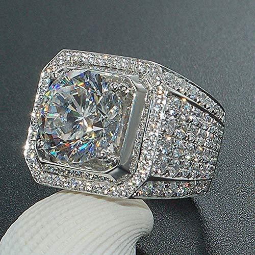 Herrn Ring Kubikzirkonia Weiß Kupfer Geometrische Form Stilvoll Iced Out Irisierend Hochzeit Party Schmuck Klassisch Pflastern Freude Strass Cool,7