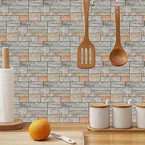 Pegatinas tridimensionales 3D para pared, estilo moderno, decoración de rayas, salón, dormitorio, ladrillo, 15 cm x 30 cm, 12 unidades