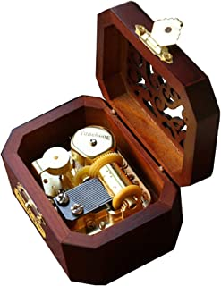 YouTang Music Box 18-Note Clockwork Creative Hollow Cover Wooden Musical Box,Musical Toys,Play Merry Christmas(Gold Movement)