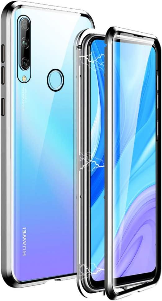 Igucac Coque pour Huawei Y9 Prime 2019 Coque 2 en 1 Aimant Adsorption Avant/Arrière Verre Trempé Couverture Complète Anti-Rayures Métal Protection ...