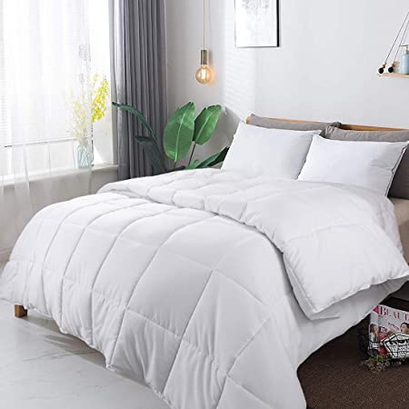 GUHER Lightweight Twin Size All Season Down Alternative Comforter 100/% Cotton Cover Duvet Insert Solid White with Tabs Down Proof
