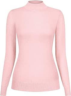 2LUV Women's Silk Blend Stretch Knit Mock Turtleneck