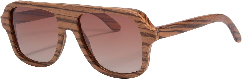 Wooden Sunglasses Oversized Retro Eyeglasses Wood Frame Polarized with Case- Z6043 (small zebra, gradient brown)