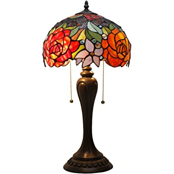 Tiffany Lamp Antique Style Stained Glass Table Light W12H22 Inch Red Rose Lampshade S001 WERFACTORY LAMPS Lover Parents Kids Girlfriend Living Room Bedroom Study Office Coffee Bar Desk Art Crafts Gift