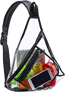Clear Sling Bag Stadium Approved, Transparent PVC Shoulder Crossbody Backpack for Women & Men, Perfect for College, Travel, Beach, Stadium, Concerts and Sport