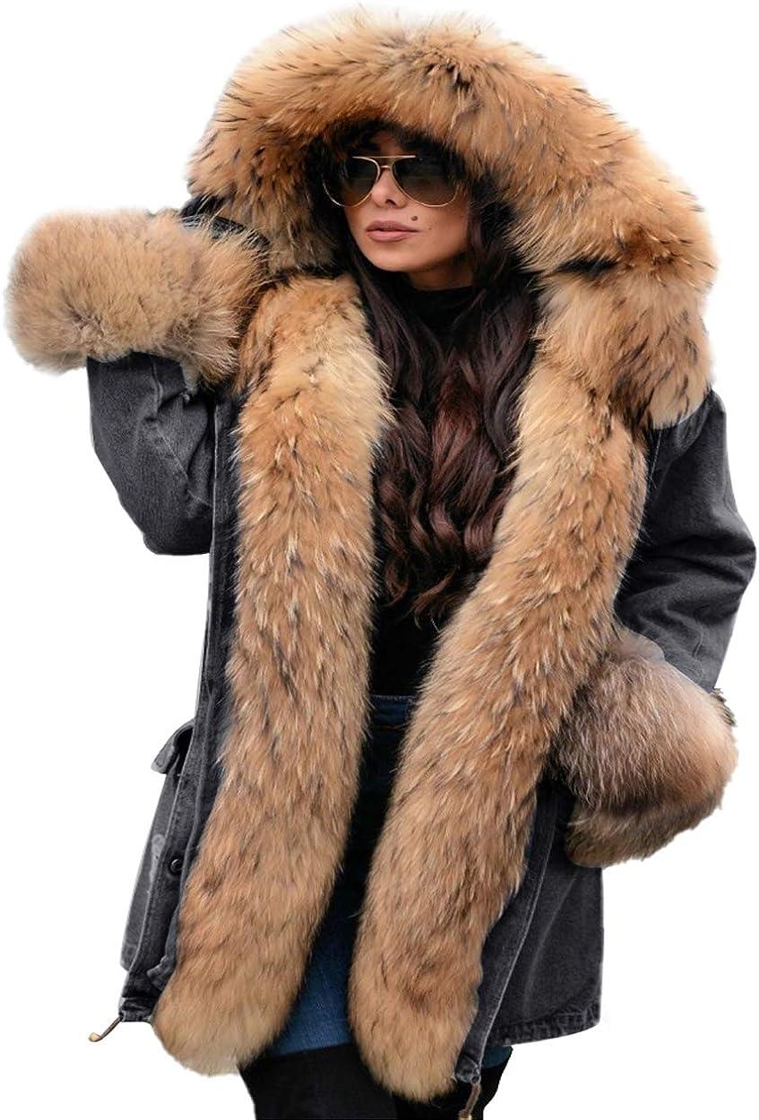 Aox Womens Winter Denim Coat Thicken Lined Faux Fur Hood Jacket Warm Sherpa Fur Overcoat Plus Size Jean Outerwear
