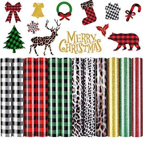 DoreenBow 12 Sheets Christmas Buffalo Plaid Iron-on Vinyl HTV Heat Transfer Vinyl for T-Shirts Fabric Craft 12 x 10 Inch -Colorful