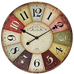 Vintage Wall Clock, French Art Decor Wooden Clock with Colorful Arabic Numerals, Silent Non-Ticking Battery Operated Indoor Home Clock for Living Room, Bedroom, Kitchen, Cafe & Bar - 18 Inch, Paris