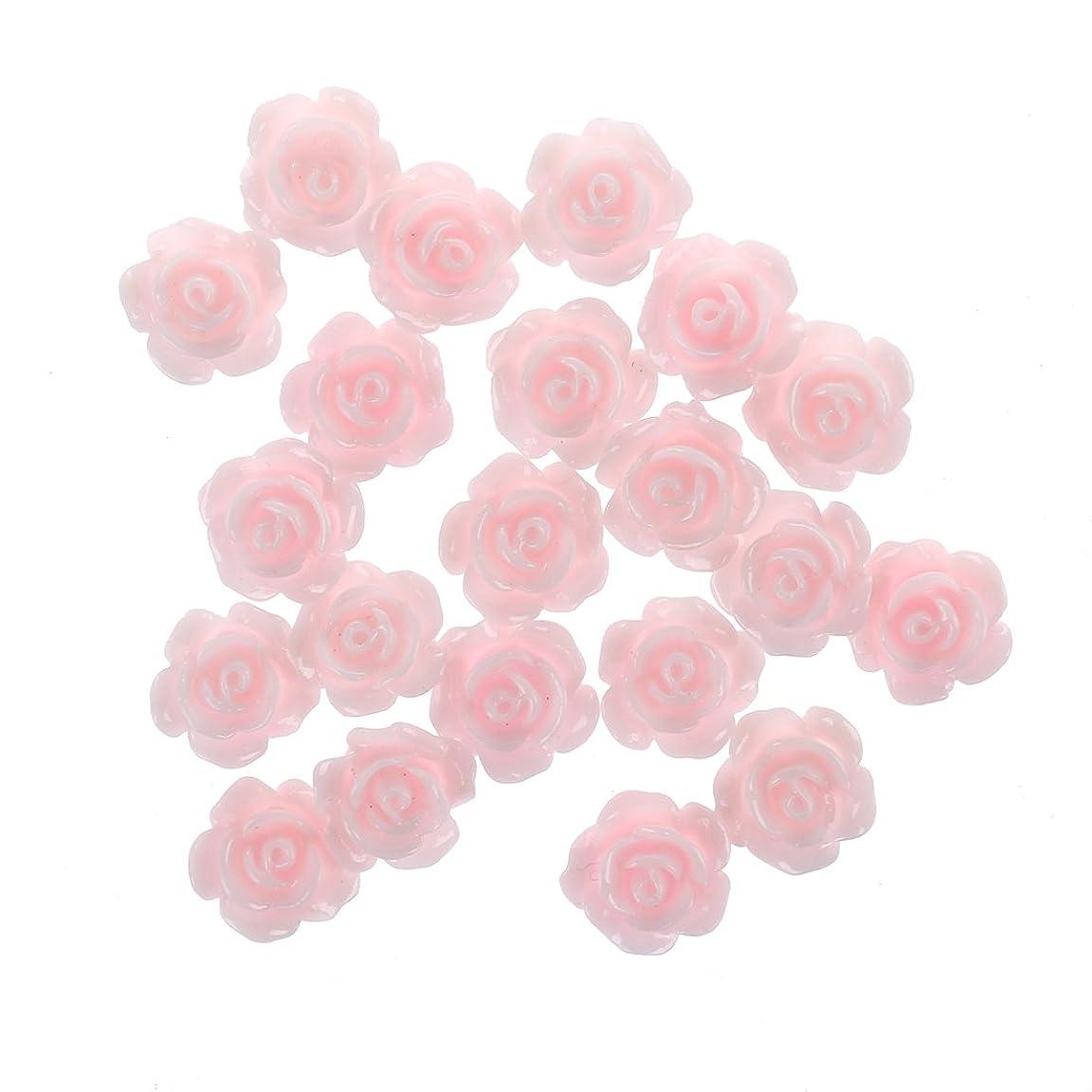 Gaoominy 20x3Dピンクの小さいバラ ラインストーン付きネイルアート装飾
