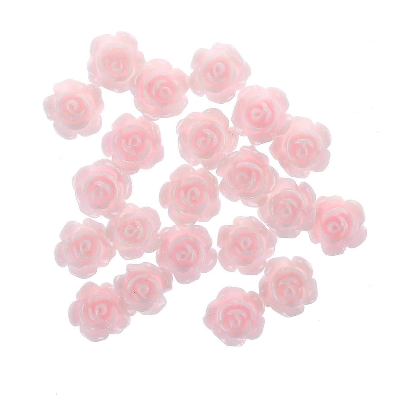 修正四半期優しいRETYLY 20x3Dピンクの小さいバラ ラインストーン付きネイルアート装飾