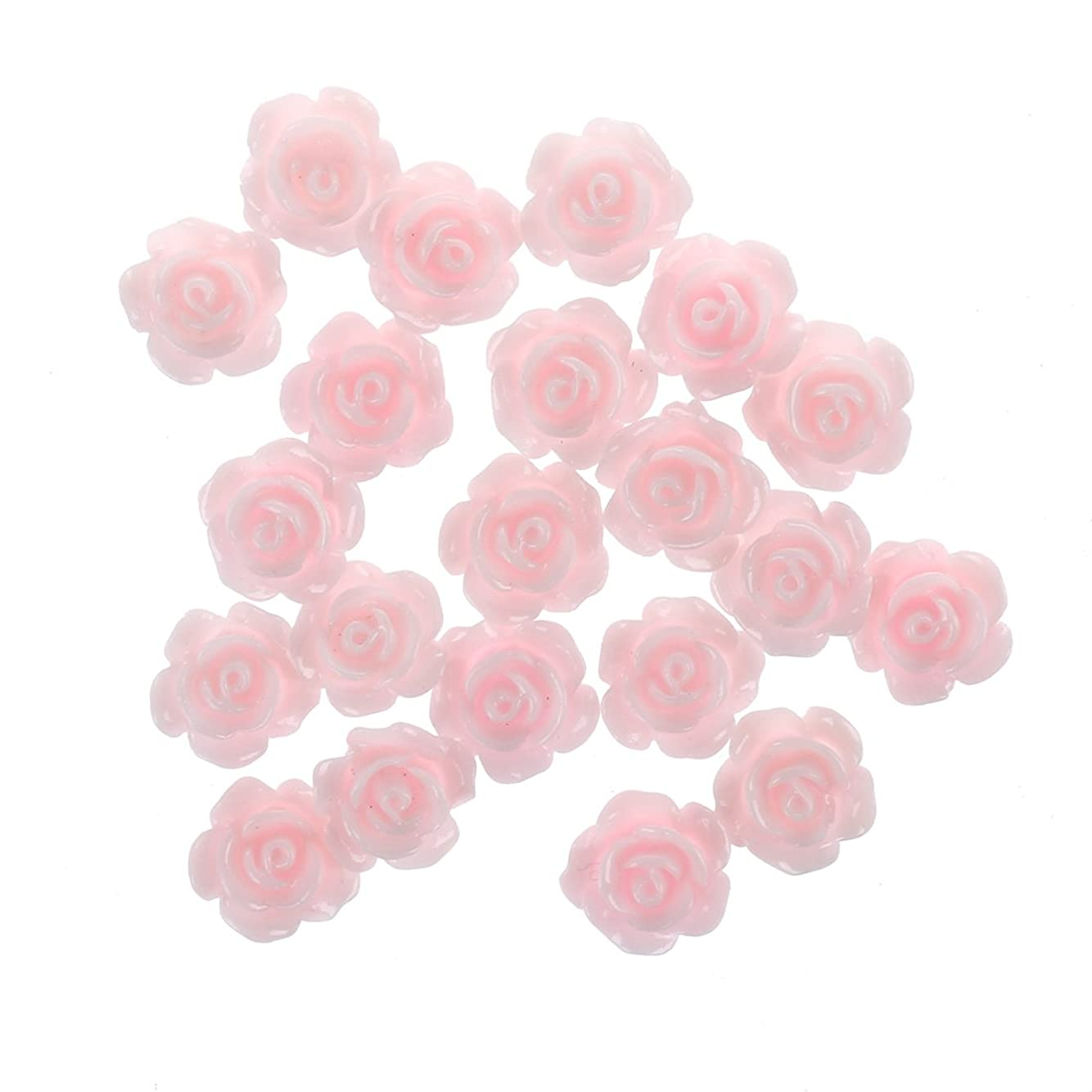 うれしい共和国シェルターGaoominy 20x3Dピンクの小さいバラ ラインストーン付きネイルアート装飾