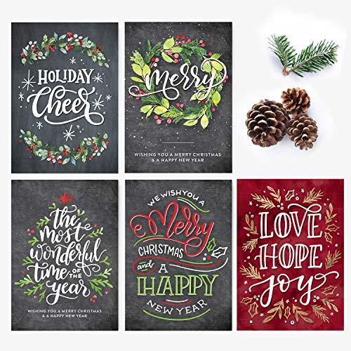 50 Holiday Postcards, Merry Christmas And A Happy New Year, Hand-Lettered Christmas Postcard Set, Hand-lettered Holiday Postcards, Happy New Year Postcards, Season's Greetings Postcards
